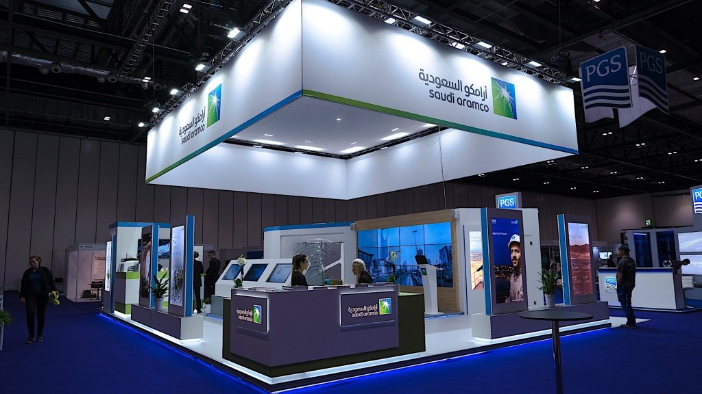 <h2>Saudi Aramco</h2> <br> <p>Saudi Aramco's corporate stand at AAPG London  included i.a. a large video-wall.</p>